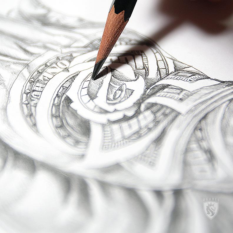 Money Rose Hands from sketch to Final art - OGABEL.COM - photo#24